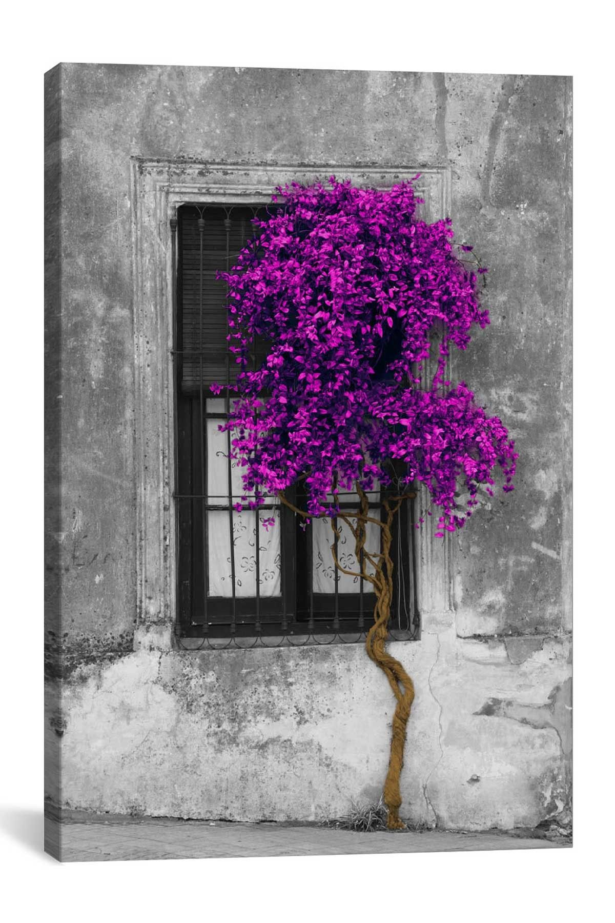 Tree In Front Of Window Purple Pop Color Pop By Panoramic Images Hautelook Tree Painting Canvas Window Painting Textured Wall Art