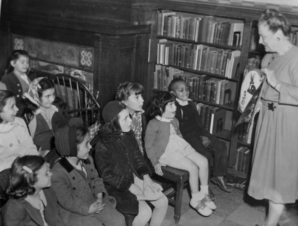 """For Throwback Thursday, """"Story Hour with Children's Librarian Jo Caroll"""" at Queens Library at Central in 1948"""