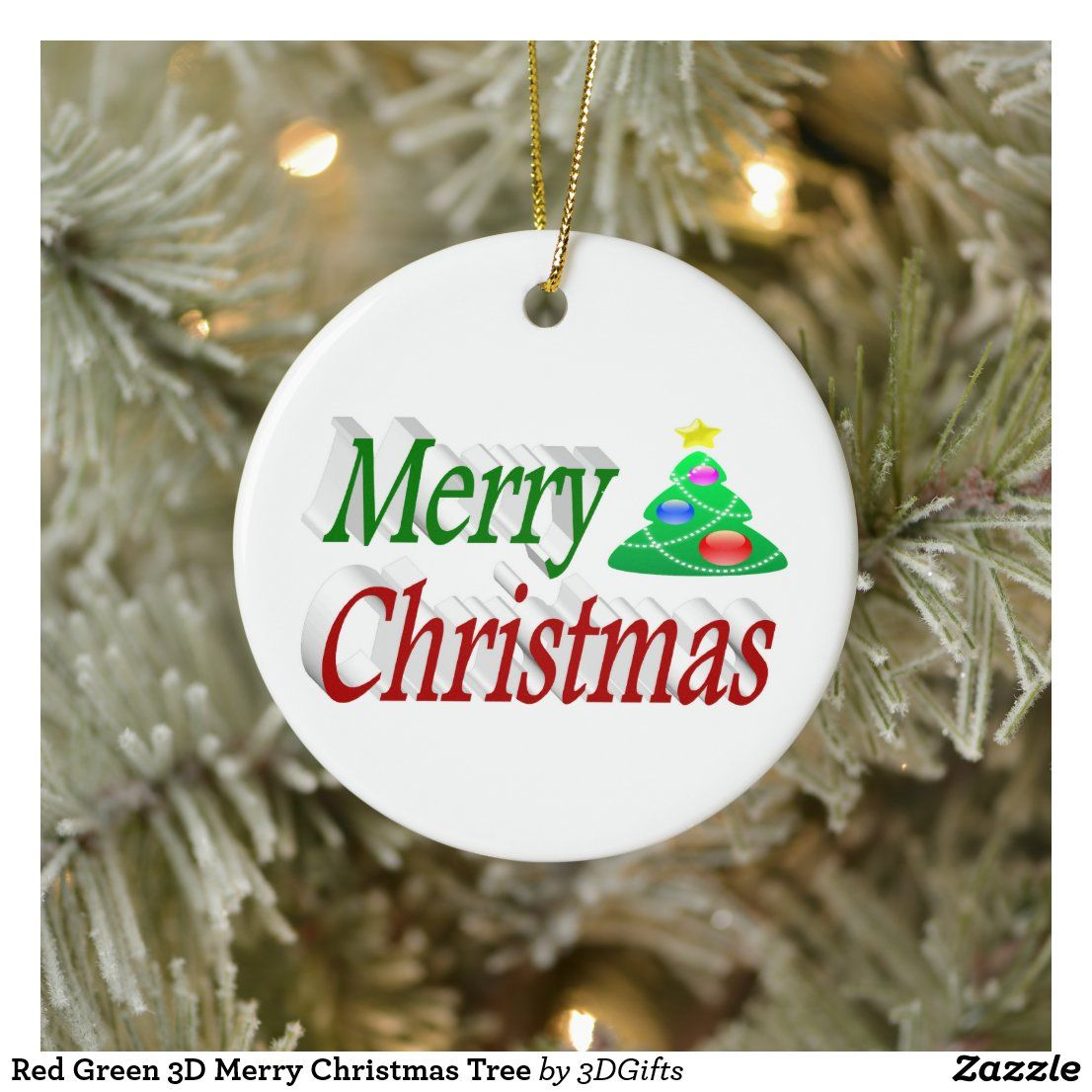 Merry Christmas 2020 3d Ornament Red Green 3D Merry Christmas Tree Ceramic Ornament | Zazzle.in