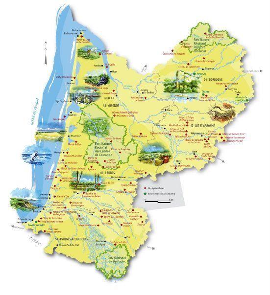 Aquitaine Carte touristique de la rgion Infos pratiques Pinterest