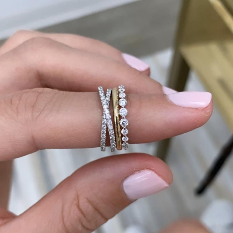 Criss Cross Band Diamond Wedding Bands Platinum Wedding Rings White Gold Wedding Rings