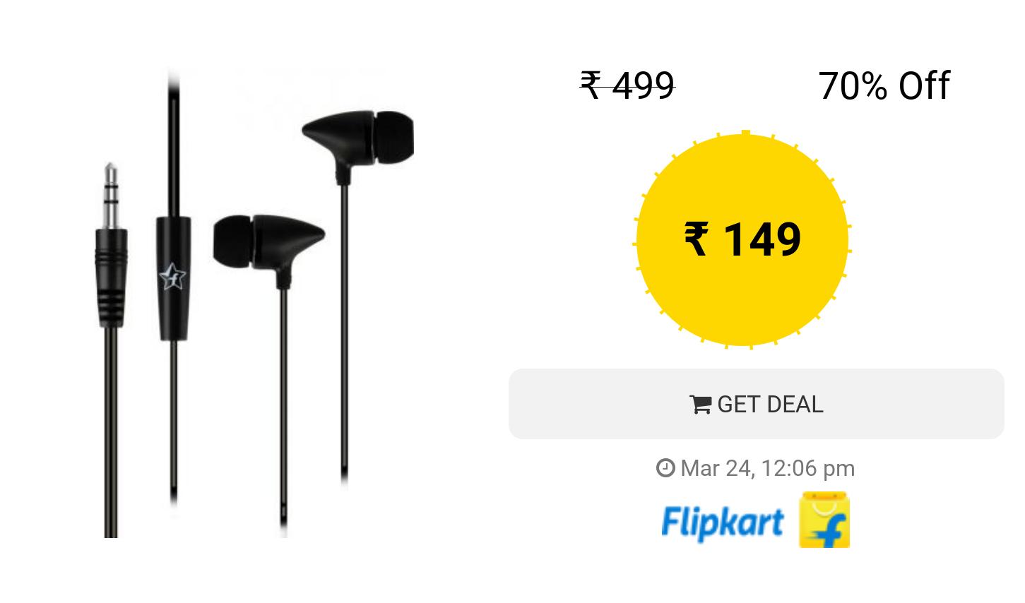 3a70b6c7bda Flipkart SmartBuy Wired Earphones with Mic (Black, In the Ear ...