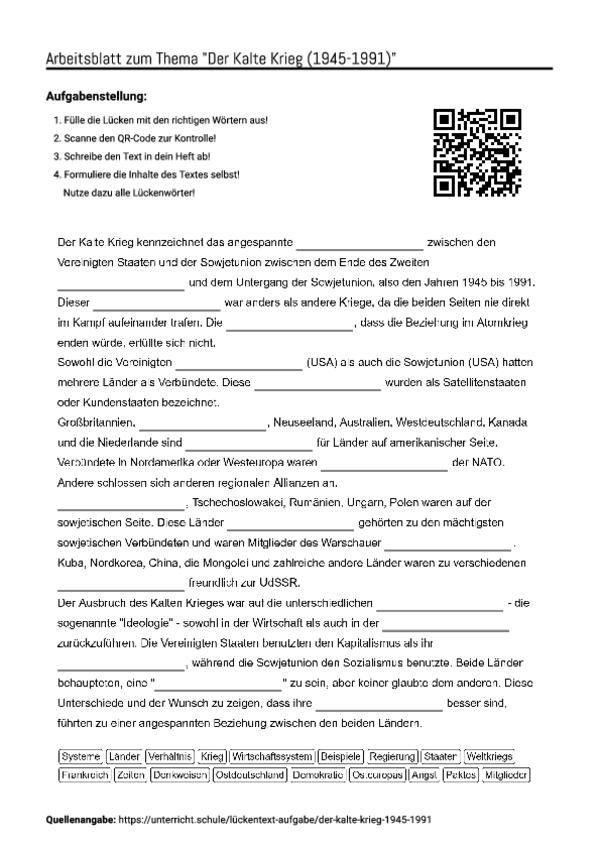 Famous Kalter Krieg Arbeitsblatt Photos - Mathe Arbeitsblatt ...