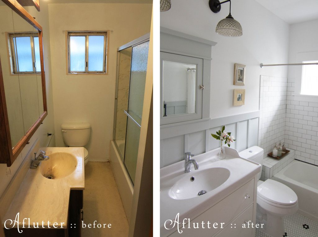 Before and after 1970s bathroom into inspired craftsman - Before and after small bathroom remodels ...