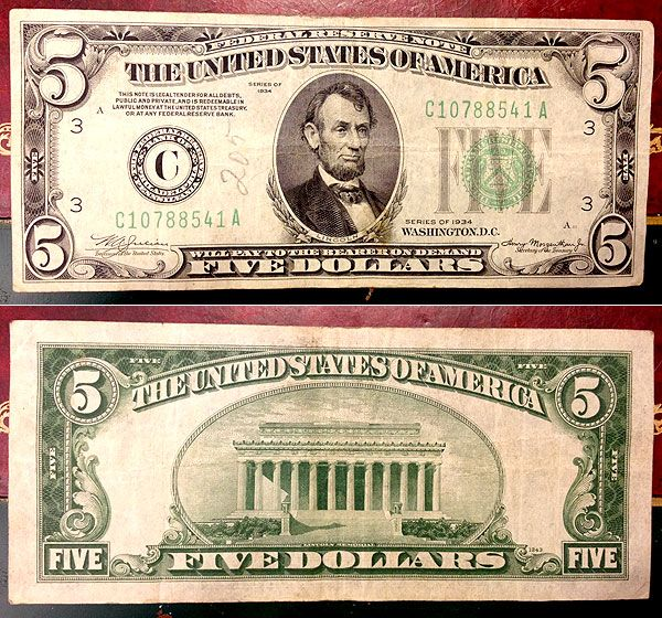 1934 5 Dollar Bill Coin Thrill Pinterest Banknote