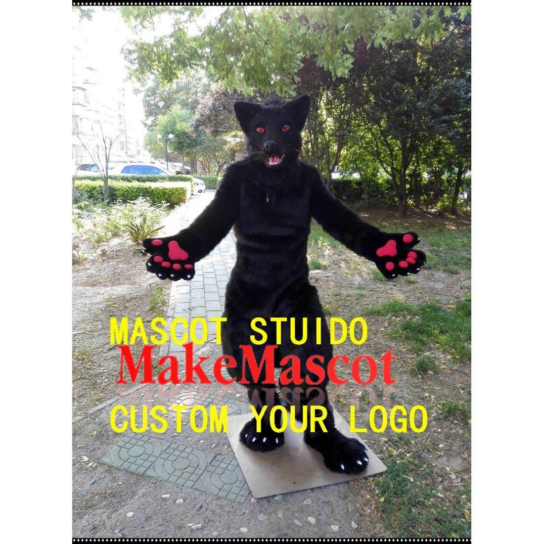 Black wolf fursuit move jaw digigrade leg 3d following