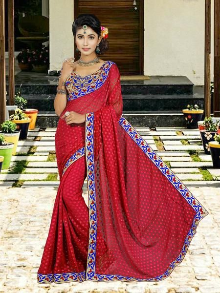 Online shopping for latest collection of designer sarees. Buy this faux georgette salmon contemporary style saree for ceremonial, festival and party. Choose from a wide range of designer bollywood saree.