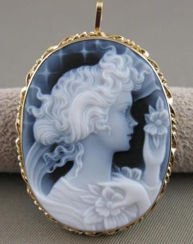 Large Estate 14kt Yellow Gold Blue Agate Girl Cameo Filigree Pin Pendant 20769 Cameo Jewelry Pin Pendant Blue Agate