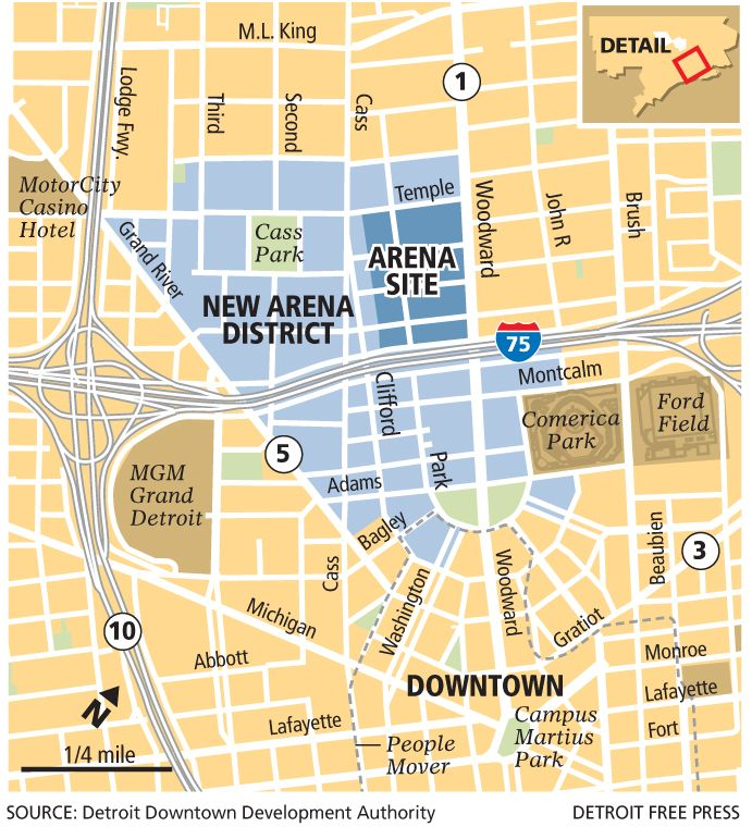 Warriors Proposed New Stadium Location: Proposed Location Of New Red Wings Arena