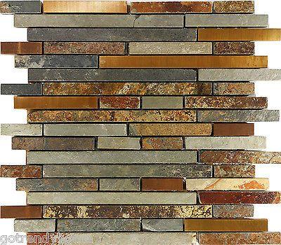 Sample Rustic Copper Linear Natural Slate Blend Mosaic Tile Kitchen ...