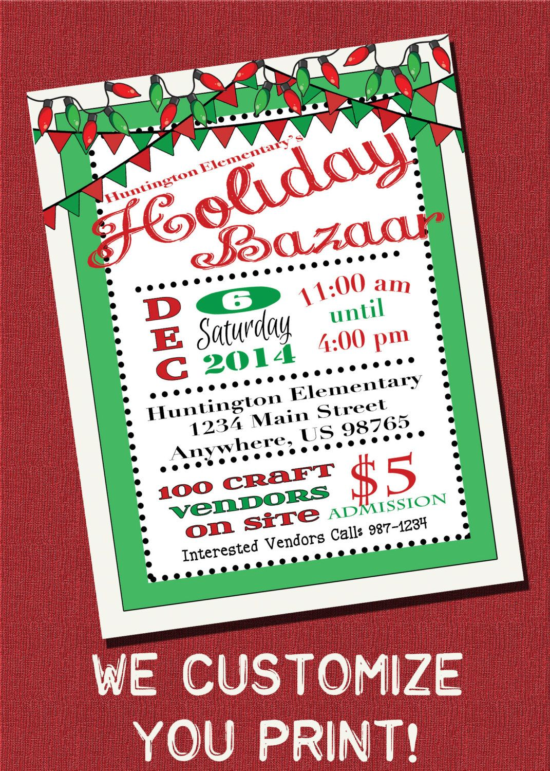 customizable holiday bazaar christmas craft show flyer printable digital download by magicpalette on etsy