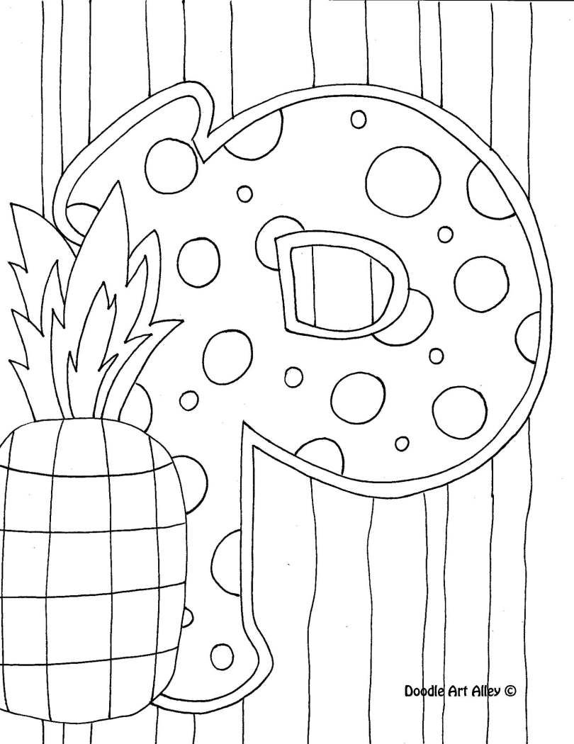 Letter Coloring Pages Doodle Art Alley  Doodling