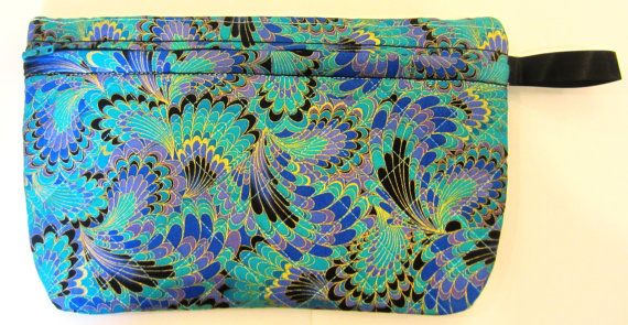 Quilted Makeup Purse Clutch Bag With Zipper by Allamericanacrafts