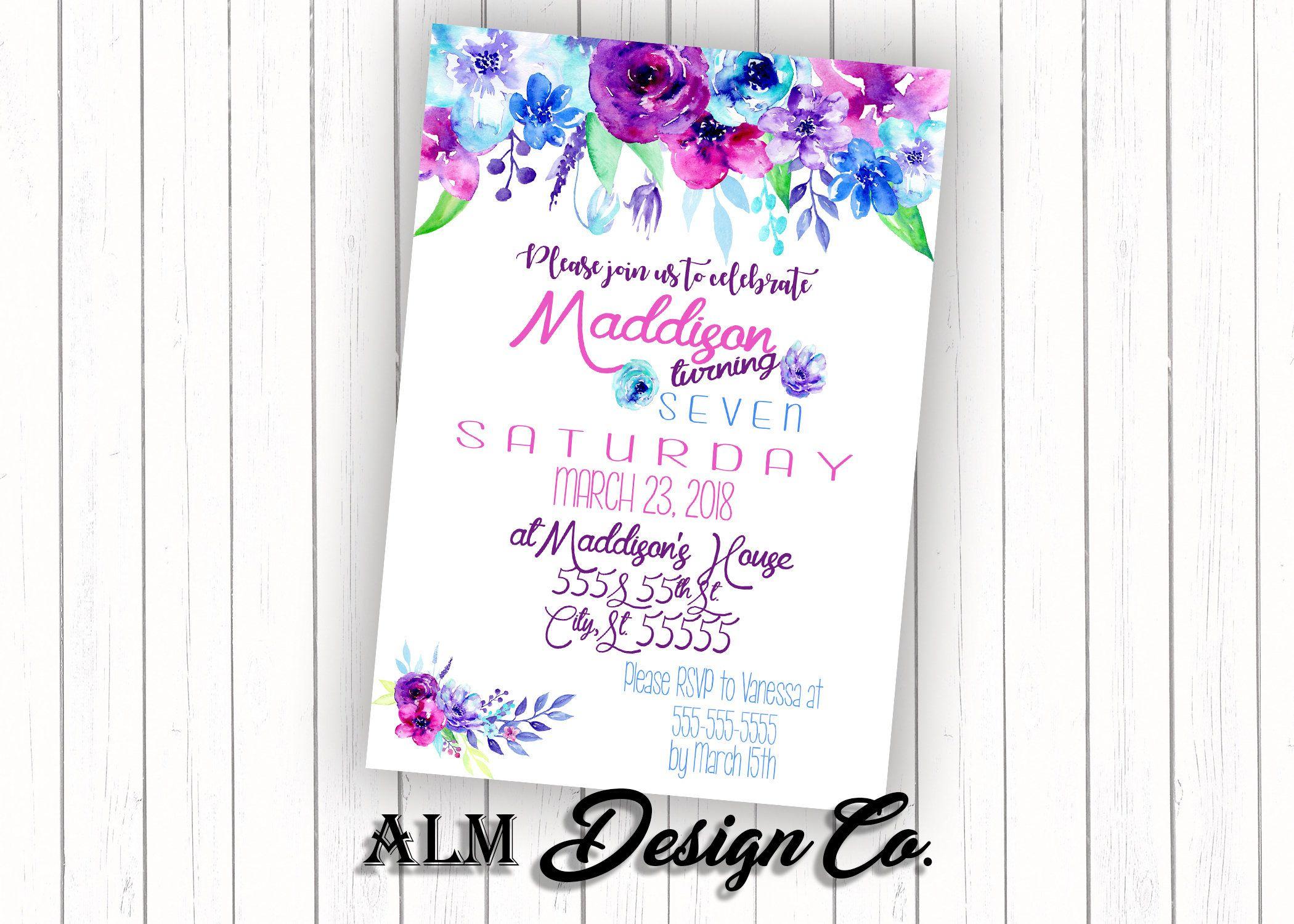 Floral Birthday Party Invitation - Purple Flower Invitation - Girls ...