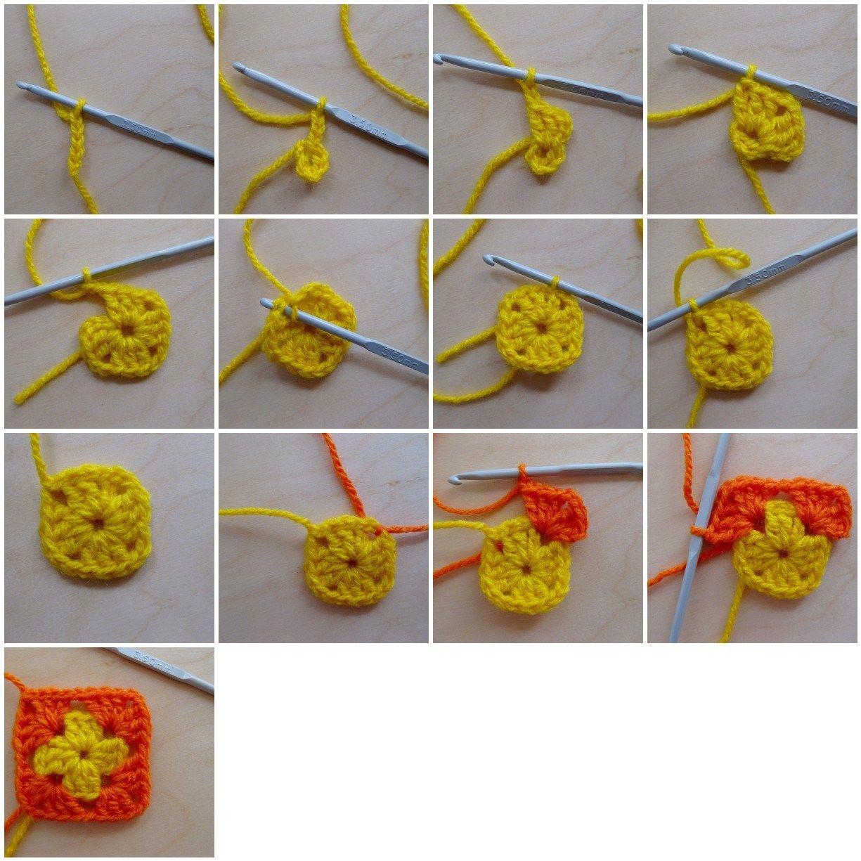How To Make A Granny Square Granny Square Crochet Patterns Free Crochet Granny Square Tutorial Granny Square Crochet