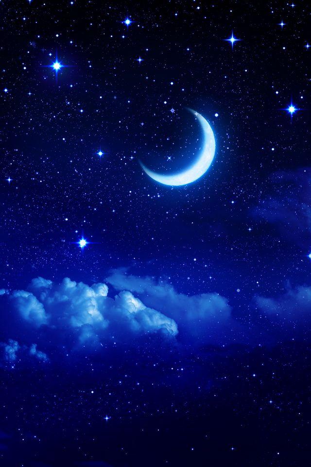 Blue Moon Night Sky Wallpaper Night Sky Moon Scenery Wallpaper
