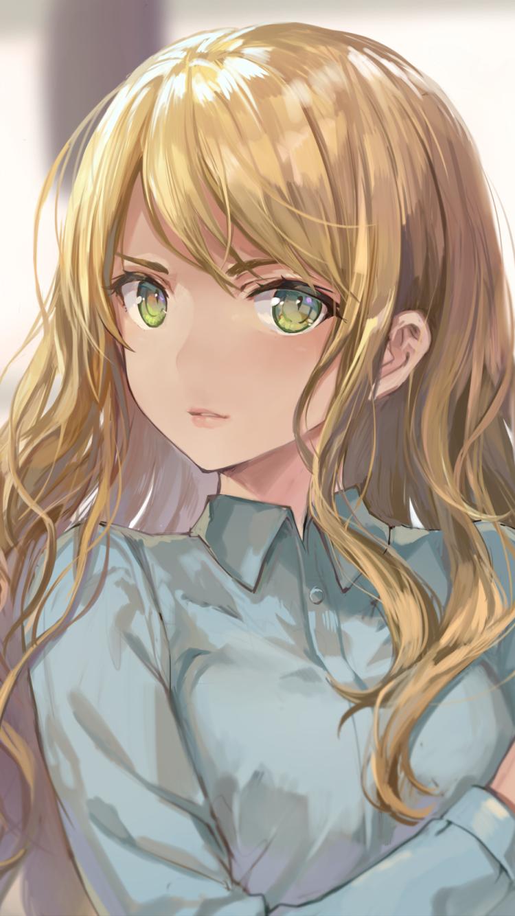 Photo of anime girl golden hair green eyes – Google Search