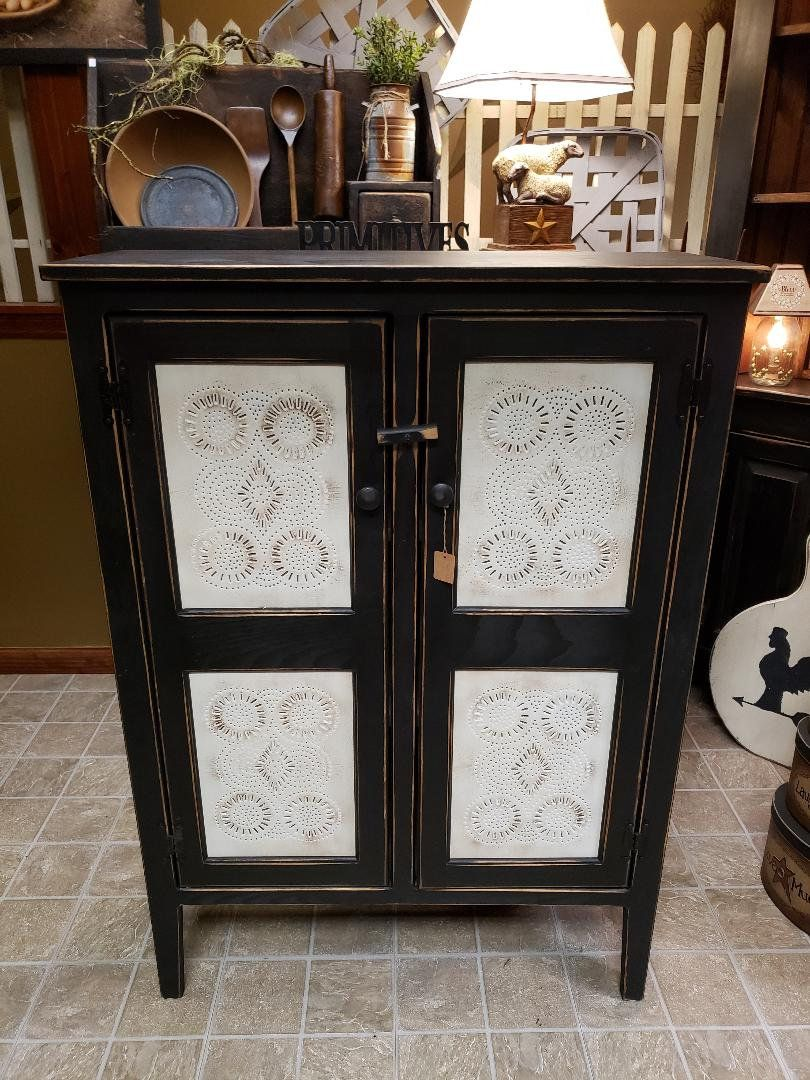 Primitive Punched Tin Door Pie Cabinet Double Door Pie Safe Etsy In 2020 Vintage Cabinets Pie Safe Primitive Cabinets