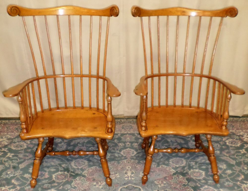 VINTAGE Stickley Cherry Valley High Fan Back Windsor Style Chairs, PAIR  #Windsor #Stickley - VINTAGE Stickley Cherry Valley High Fan Back Windsor Style Chairs