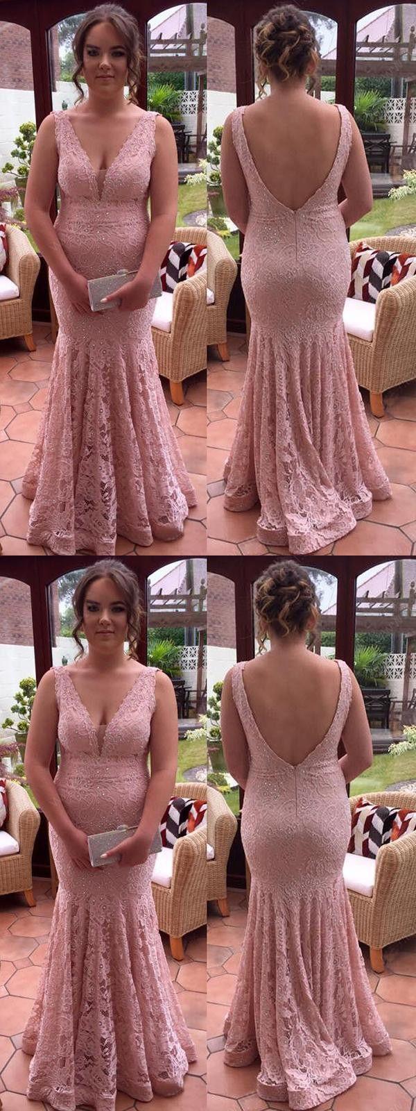 Plus sinze mermaid prom dress lace pink prom dress er in