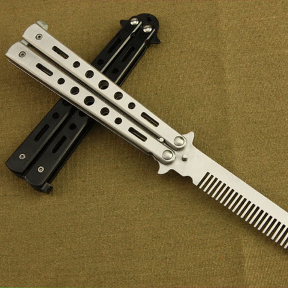Pro Salon Stainless Steel Folding Practice Training Butterfly Balisong Style Knife Comb Tool Black Silver Cool Survival Equipment Knife Survival Card