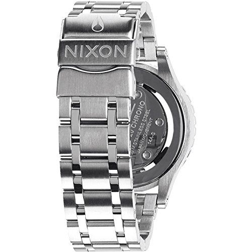Nixon A404-1874 Ladies 38-20 Chrono All Silver Crystal Watch  This stunning ladies Nixon The 38-20 Chrono watch is made from stainless steel and is powered by a chronograph quartz movement. It fastens a silver metal bracelet and has a silver dial. Brand: Nixon Gender: Women Dial Color: Silver Band Color: Silver Band Material: Stainless Steel Band Width (MM): 19 Case Diameter (MM): 38 Case Material: Stainless Steel Clasp: Deployment Clasp Collection: 38-20 Display: Analog Crystal: Min..