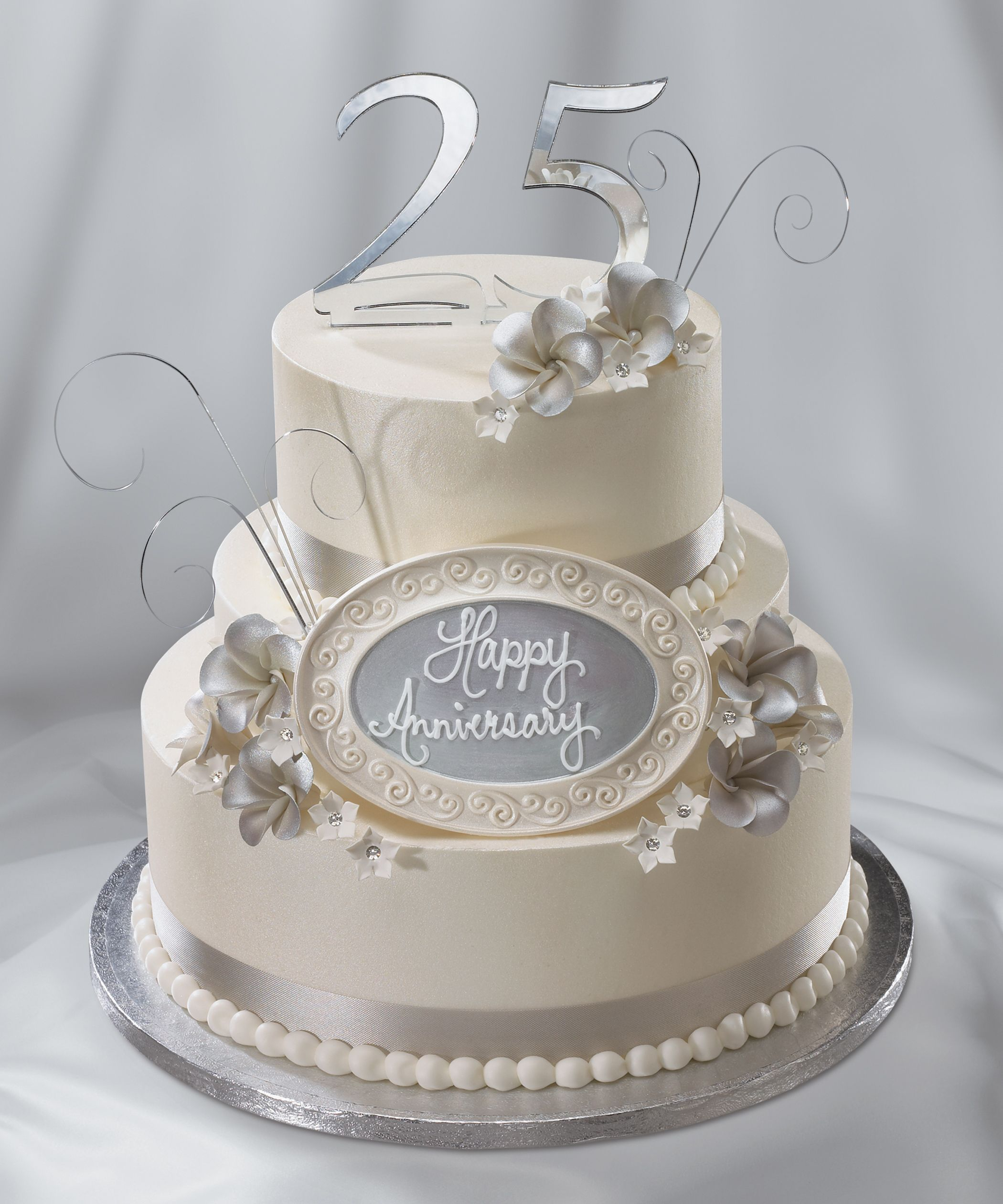 "25th wedding anniversary cake, silver anniversary | ""i do"" wedding"