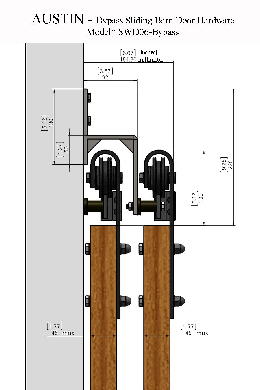 Austin Double Bypass Sliding Barn Door Hardware Bypass Barn Door Barn Doors Sliding Sliding Barn Door Hardware