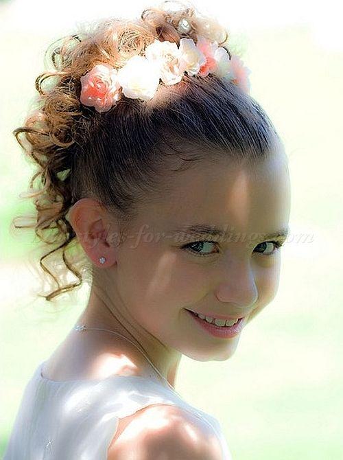Flower Girl Hairstyles flower girl hairstyle with floral halo Flowergirl Hair Flowergirl Hairstyle