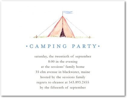 Party Invitations Little Tent Front White Camping Shower