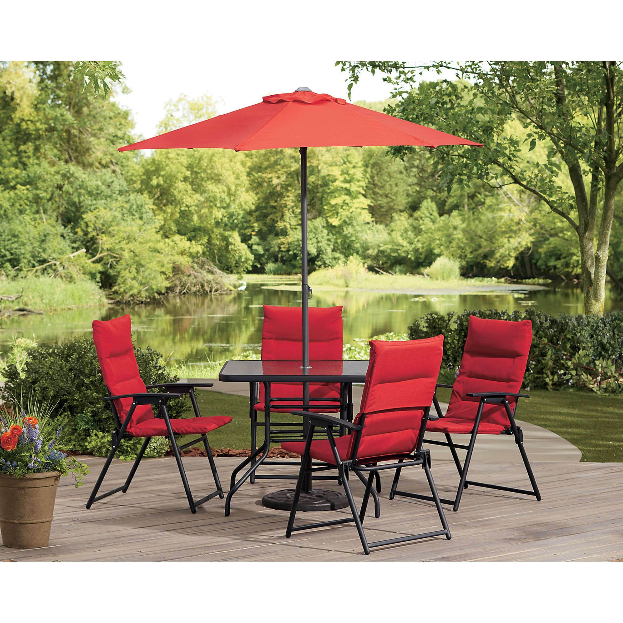 Castlecreek Red Outdoor Patio Furniture Dining Set 6 Pc Includes Folding Chairs