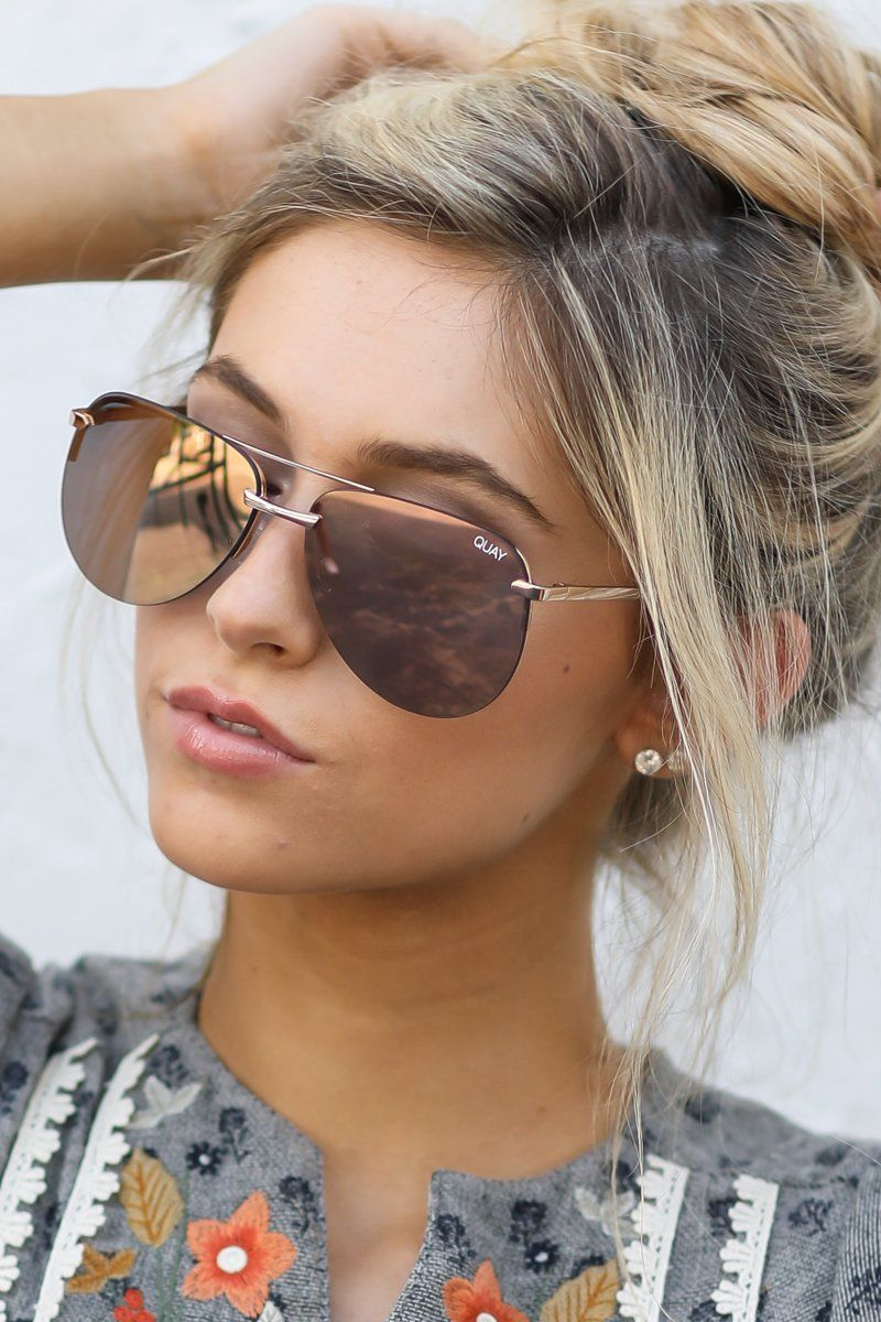1eaec12695 Quay Australia Gold Pink Sunglasses - Chic Sunnies - Sunglasses -  60 – Red  Dress Boutique