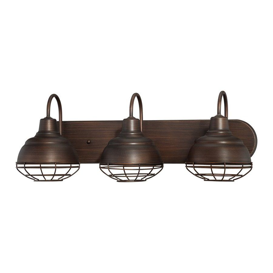 Shop Millennium Lighting 3Light Neoindustrial Rubbed Bronze Extraordinary Industrial Bathroom Light Fixtures Review