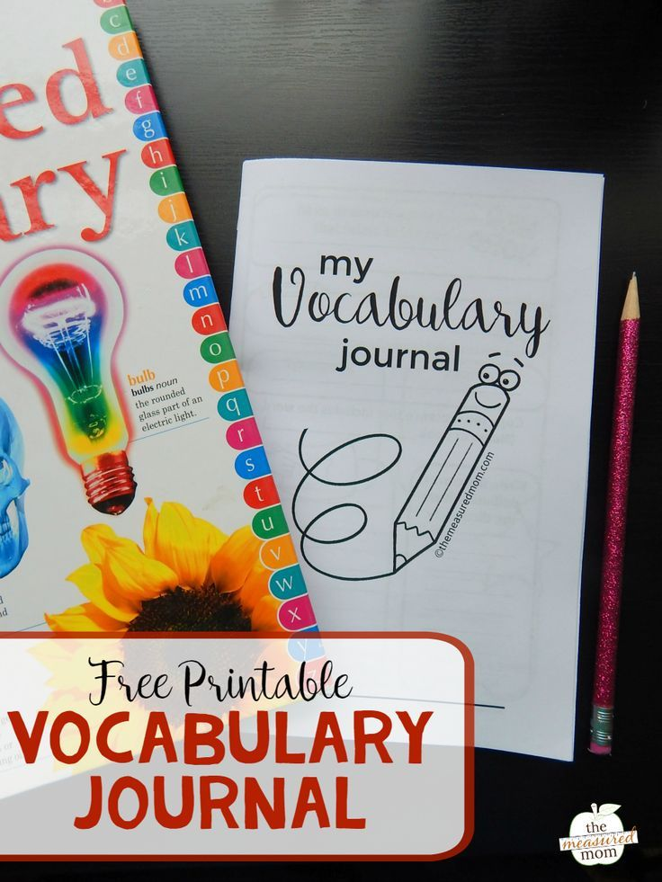 Free vocabulary journal for kids Teaching Reading Vocabulary