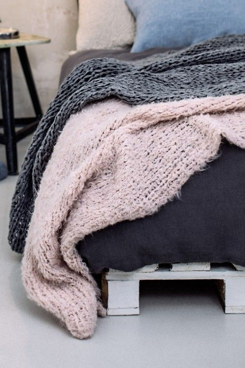 Plaid Grau Rosa Initiative Handarbeit Decke Stricken