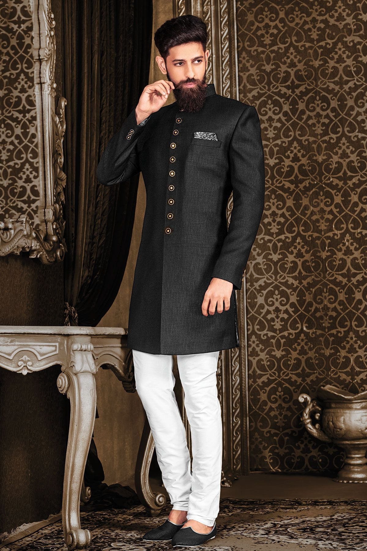 Black italian indowestern sherwaniiw traditional dress