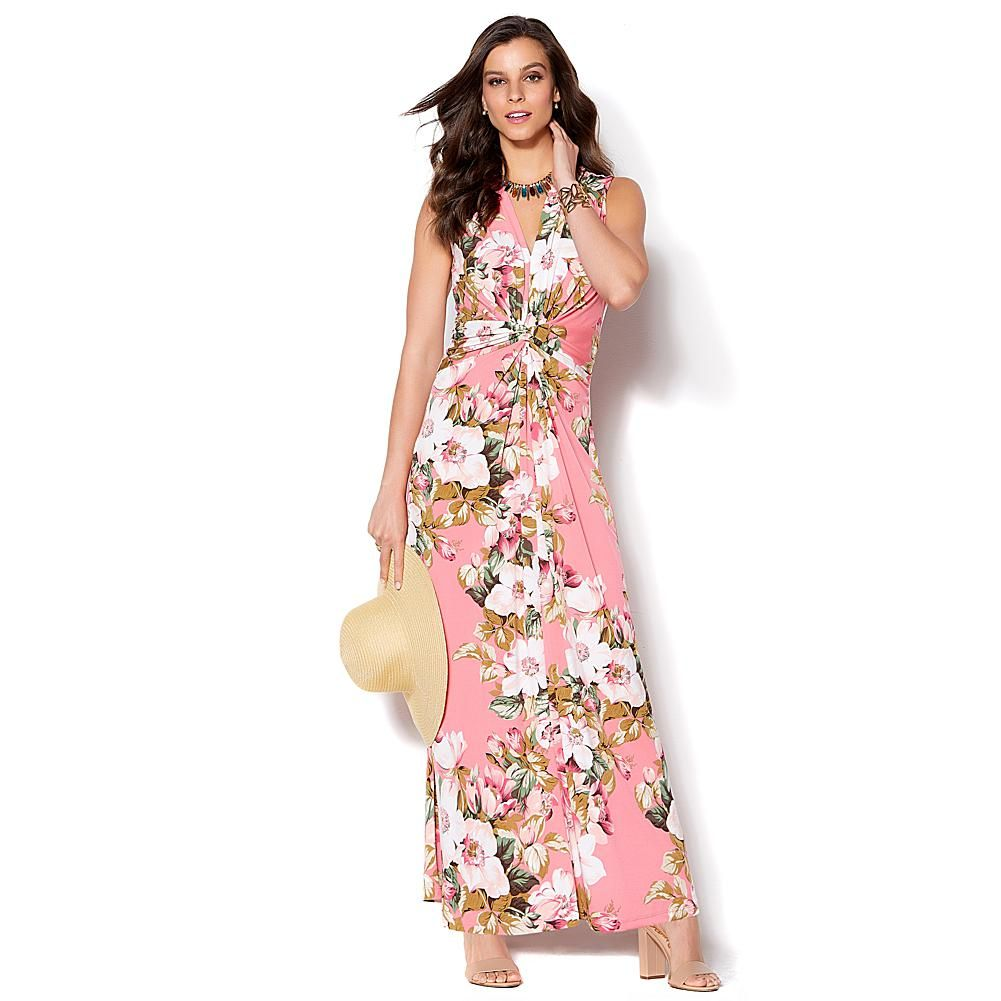 52897bb2800 IMAN Global Chic Luxury Resort Knockout Maxi Dress and Necklace - Coral  Rose Floral