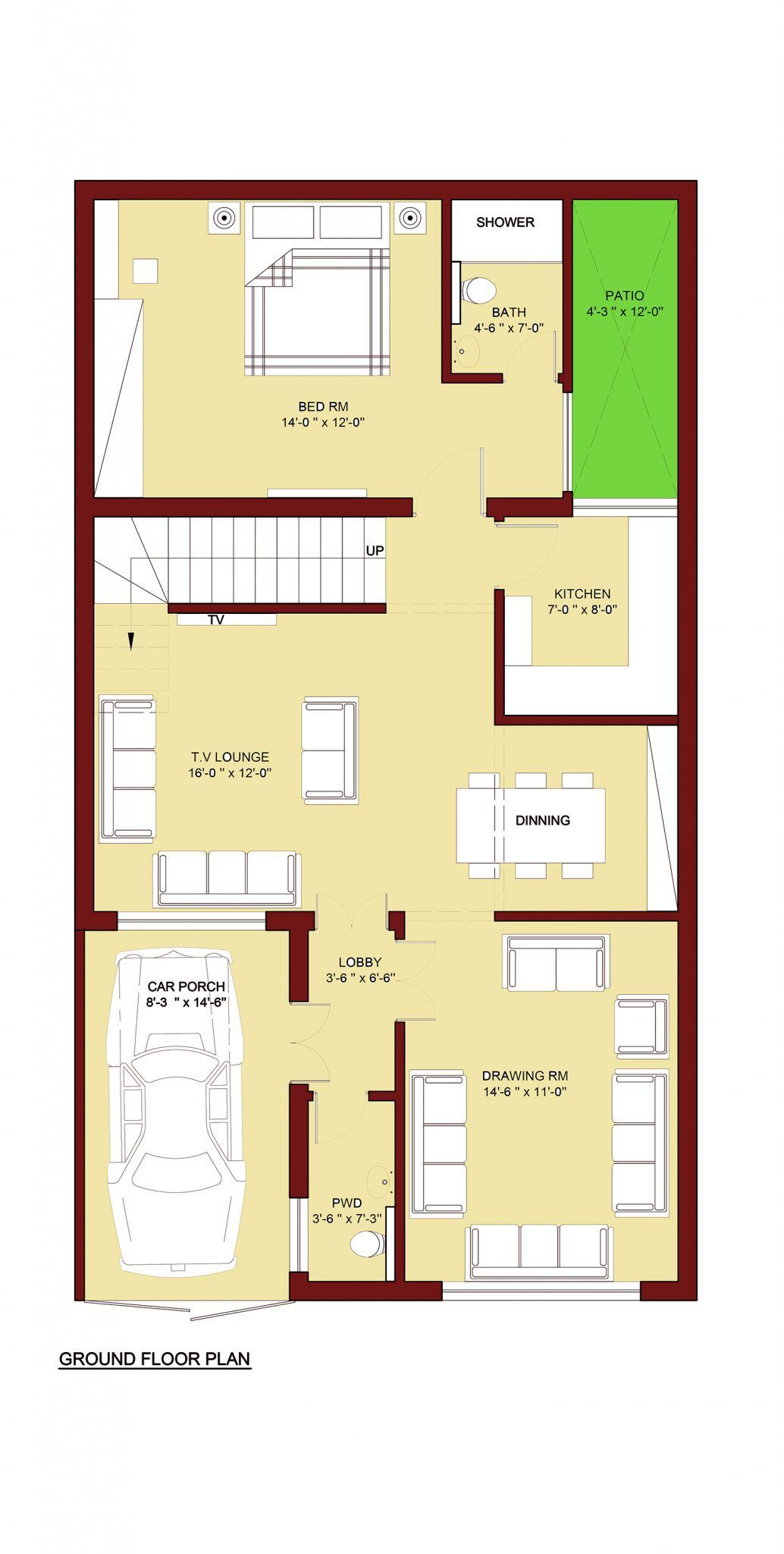 100 Sq M Home Plan (5 Marla ) 4 Bed Room 5 Marla House Plan