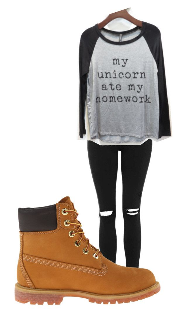 """Bored"" by fashiondisaster17 ❤ liked on Polyvore featuring Topshop, Timberland and Triumph"