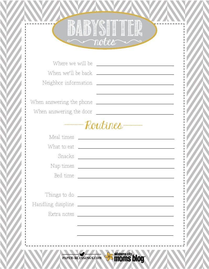 Free Printables Babysitter Notes Free Printables Babysitter