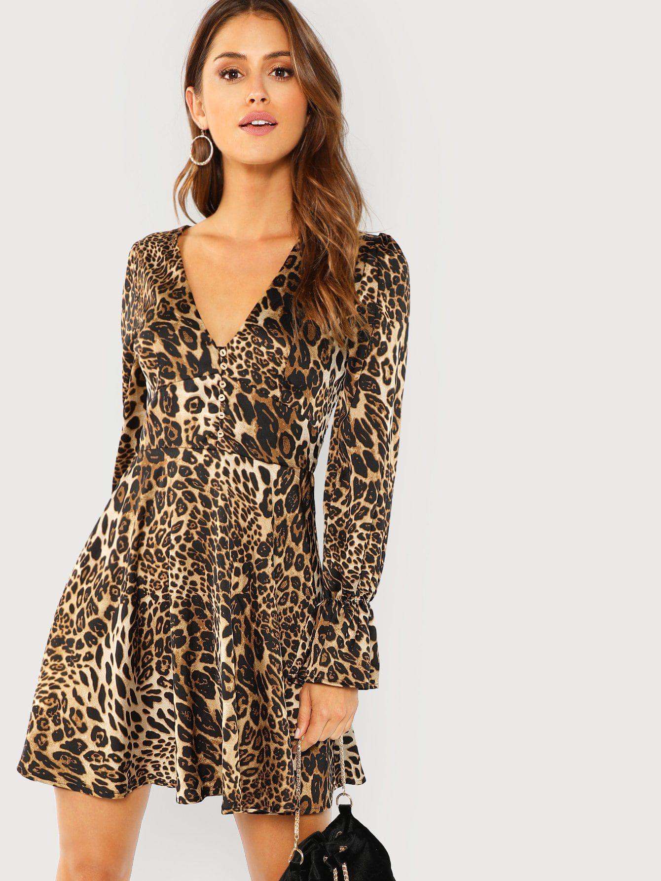 Leopard Print Flounce Sleeve Fit Flare Dress Woman Women Elegance Clothes Dresses Fit Flare Dress Flare Dress [ 1785 x 1340 Pixel ]