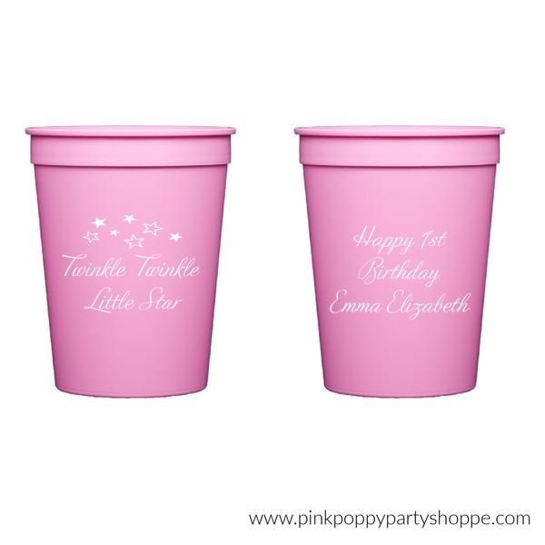 Twinkle Twinkle Little Star Personalized Stadium Plastic Cups -   - Pink Poppy Party Shoppe - 1