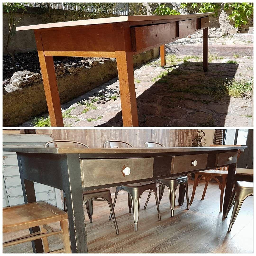 Table de ferme relookée, ambiance broc   Relooking meuble, Table ...