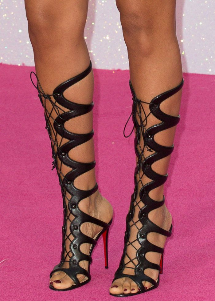 sports shoes 9c120 28c99 Rochelle Humes in Christian Louboutin gladiator sandals ...