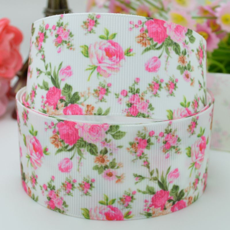 """Retro Pink Flowers party decoration printed grosgrain ribbon bows 38mm hair accessories one direction 50 yard 1-1/2"""""""