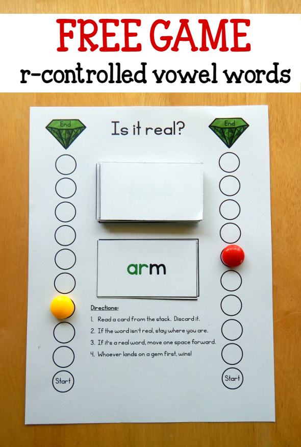 R-controlled vowel words game - The Measured Mom   Phonics words, R  controlled vowels activities, Phonics