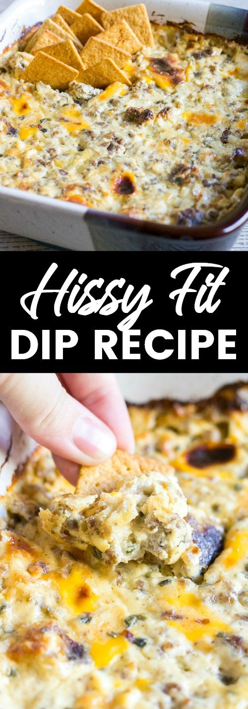 Hissy Fit Dip is a game day staple at my house! This cheesy dip is studded with sausage and packed