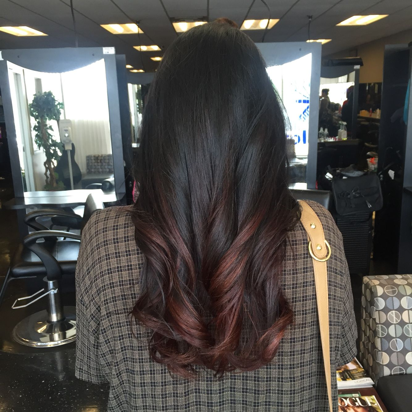 Black and auburn balayage ombre   TRESSES in 2019 ...