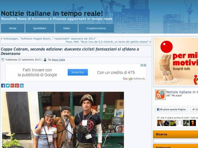 Coppa Cobram - ECONOMY.IT - Coppa Cobram, seconda edizione: duecento ciclisti fantozziani si sfidano a Desenzano