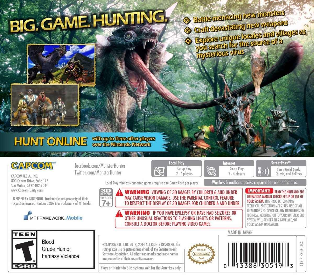 With the addition of two new weapon classes, challenging new monsters and numerous locales, Monster Hunter 4 Ultimate will be the most robust hunting experience yet. Description from gobuydaddy.com. I searched for this on bing.com/images